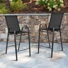 2 Pack Brazos Series Black Outdoor Barstool with Flex Comfort Material and Metal Frame Product Image