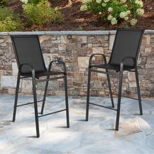2 Pack Brazos Series Black Outdoor Barstool with Flex Comfort Material and Metal Frame