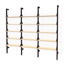 Branch-3 Shelving Unit Black Uprights Black Brackets Blonde Shelves