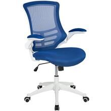 Mid-Back Blue Mesh Swivel Ergonomic Task Office Chair with White Frame and Flip-Up Arms