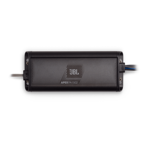 JBL Apex PA1502 The Apex Series PA1502 powersports amplifiers deliver efficient Class D power, from an ultra-compact chassis, designed to fit into tight spaces and withstand outdoor environments without missing a beat.