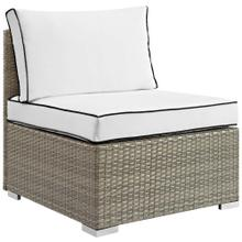 Repose Outdoor Patio Armless Chair in Light Gray White