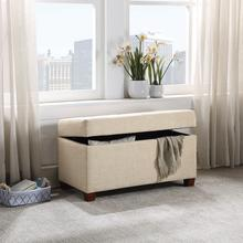 Fabric Storage Ottoman In Cream