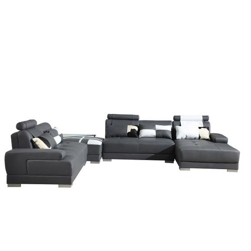 Divani Casa Phantom - Modern Grey Leather Sectional Sofa with Ottoman and Glass End Table