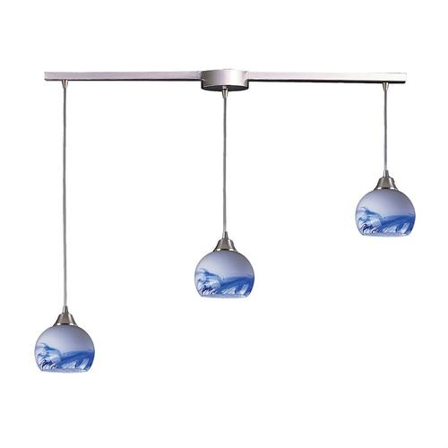 Mela 3-Light Linear Mini Pendant Fixture in Satin Nickel with Hand-blown Mountain Glass