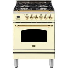 Nostalgie 24 Inch Dual Fuel Liquid Propane Freestanding Range in Antique White with Brass Trim