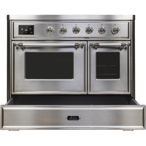 Majestic II 40 Inch Electric Freestanding Range in Stainless Steel with Chrome Trim