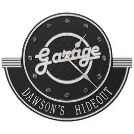 "Garage Personalized 12"" Indoor Outdoor Wall Clock - Black/Silver"