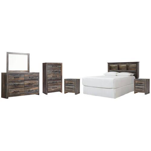 Product Image - Queen/full Bookcase Headboard With Mirrored Dresser, Chest and 2 Nightstands