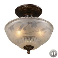 Restoration 3-Light Semi Flush in Golden Bronze with Off-white Glass - Includes Adapter Kit