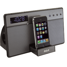 Audio system with built-in dock for iPod and iPhone and clock radio functionality
