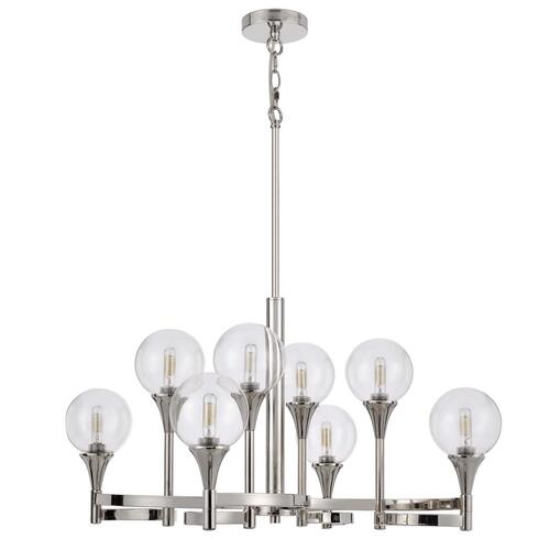 15W x 8 Milbank metal chandelier and clear round glass shades