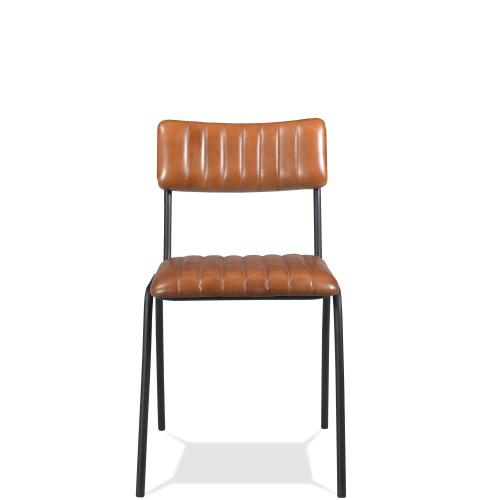 Mix-n-match Chairs - Vertical Tufted Leather Side Chair - Obsidian Finish