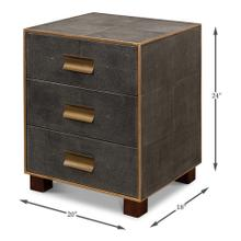 See Details - Shagreen 3 Drawer Side Table, Ant. Grey