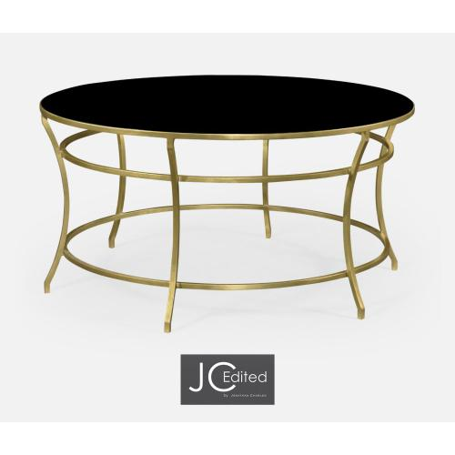 Gilded Iron Round Coffee Table with A Black Glass Top