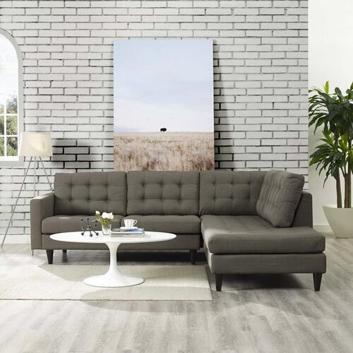 Empress 2 Piece Upholstered Fabric Right Facing Bumper Sectional in Granite
