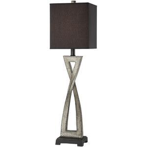 Buffet Lamp, Aged Ivory W/black Fabric Shade, E27 Cfl 23w