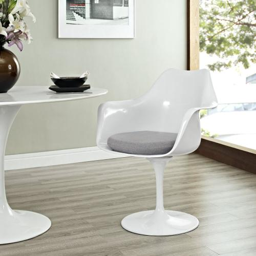 Lippa Dining Fabric Armchair in Gray