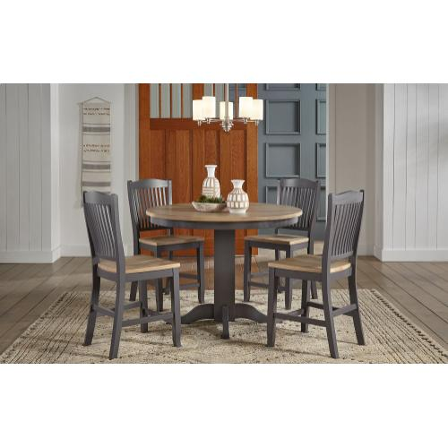 5 PIECE SET (ROUND PUB TABLE AND 4 BARSTOOLS)