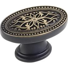 "1-3/4"" Overall Length Oval Filigree Cabinet Knob."