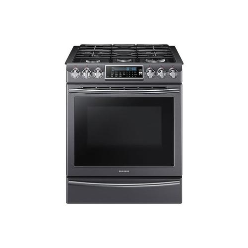 Samsung - 5.8 cu. ft. Slide-In Gas Range with True Convection in Black Stainless Steel