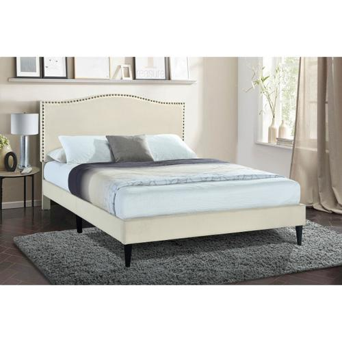 Arched Back Upholstered King Platform Bed in Beige