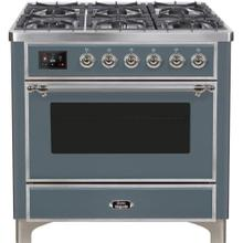 See Details - Majestic II 36 Inch Dual Fuel Liquid Propane Freestanding Range in Blue Grey with Chrome Trim