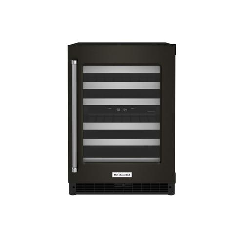 """KitchenAid Canada - 24"""" Undercounter Wine Cellar with Glass Door and Metal-Front Racks - Black Stainless"""
