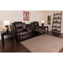 See Details - Allure Series 3-Seat Reclining Pillow Back Brown LeatherSoft Theater Seating Unit with Cup Holders