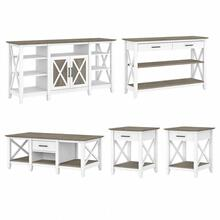 Key West Tall TV Stand with Coffee Table, Console Table and Set of 2 End Tables - Shiplap Gray/Pure White
