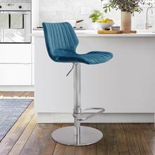 Anika Adjustable Swivel Barstool with Brushed Stainless Steel Finish and Blue Velvet