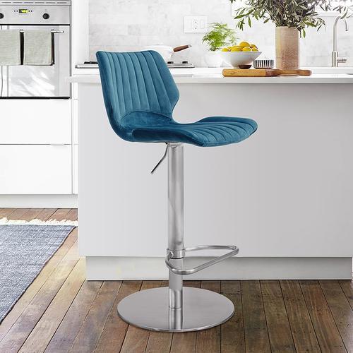 Anika Adjustable Swivel Barstool with Brushed Stainless Steel Finish and Blue Velvet