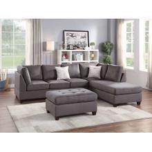 Elroy 3pc Sectional Sofa Set, Grey Microfiber