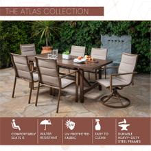 Mod Atlas 7-Piece Outdoor Dining Set with 4 Sling Chairs, 2 Sling Swivel Rockers and a 74-In. x 40-In. Trestle Table, Tan, ATLASDN7PCSW2-TAN