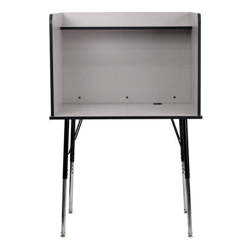 Flash Furniture - Study Carrel with Adjustable Legs and Top Shelf in Nebula Grey Finish