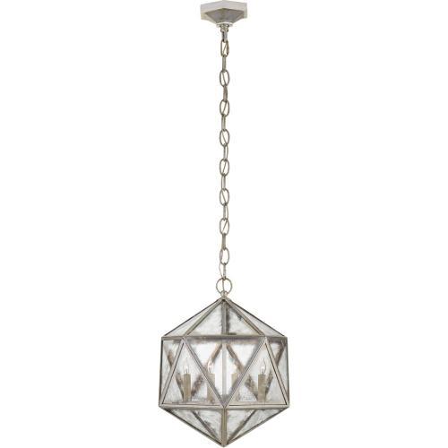 Visual Comfort CHC5201BSL-AM E. F. Chapman Zeno 4 Light 16 inch Burnished Silver Leaf Pendant Ceiling Light, E.F. Chapman, Medium, 18-Facet Hedron, Lantern, Antique Mirror Glass