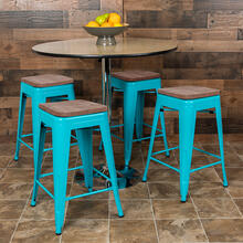 "24"" High Metal Counter-Height, Indoor Bar Stool with Wood Seat in Teal - Stackable Set of 4"