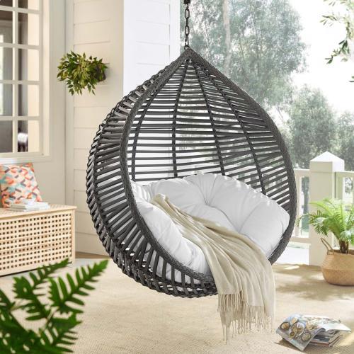 Garner Teardrop Outdoor Patio Swing Chair in Gray White