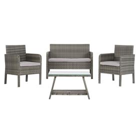 Aboka 4pc Living Set - Grey / Grey