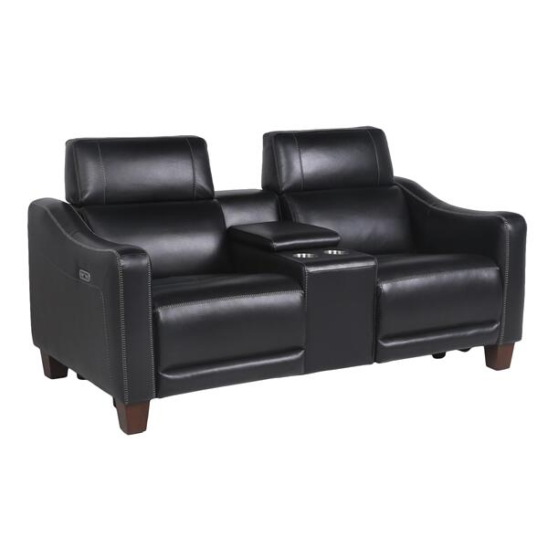 See Details - Giorno Dual-Power Leather Console Loveseat, Midnight