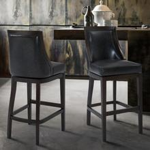 "Armen Living Presley 30"" Bar Height Barstool in Espresso Finish and Onyx Faux Leather"