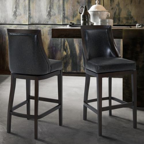 """Armen Living - Armen Living Presley 30"""" Bar Height Barstool in Espresso Finish and Onyx Faux Leather"""