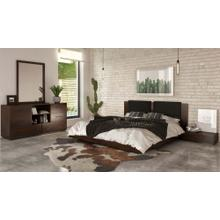 Nova Domus Fantasia - Walnut/Dark Grey Bed and Two Nightstands