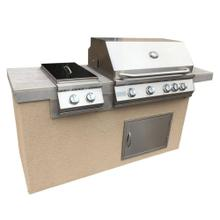 View Product - Antigua 6' BBQ Island Built In BBQ Grill Side Burner and Bar on one Side, (LP) Liquid Propane