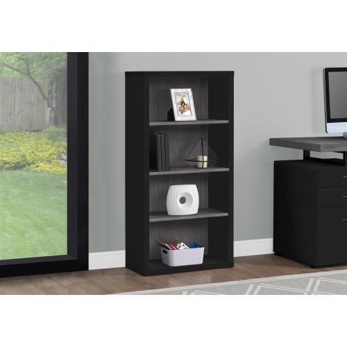 """Gallery - BOOKCASE - 48""""H / BLACK / GREY WITH ADJUSTABLE SHELVES"""