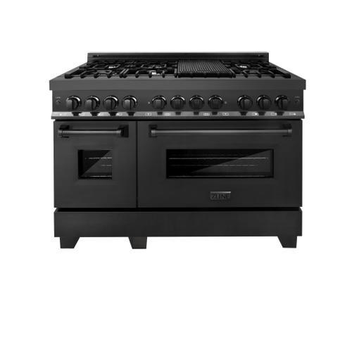 "Zline Kitchen and Bath - ZLINE 48"" Black Stainless 6.0 cu.ft. 7 Gas Burner/Electric Oven Range (RAB-48)"
