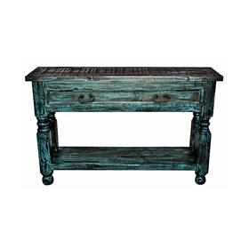 Turquoise Scraped Lyon Sofa