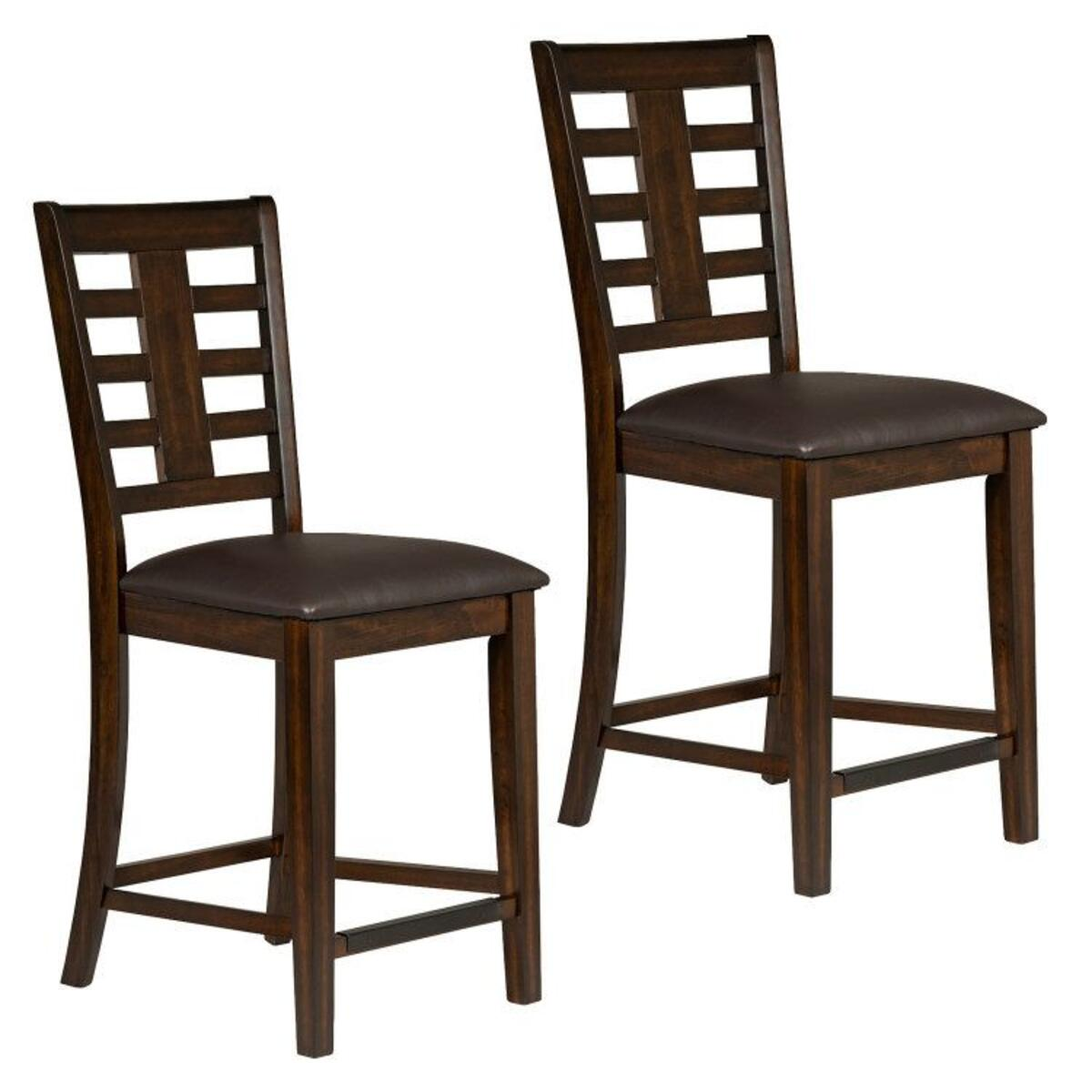 Bella 2-Pack Barstools with Leatherette Seat, Cherry Brown
