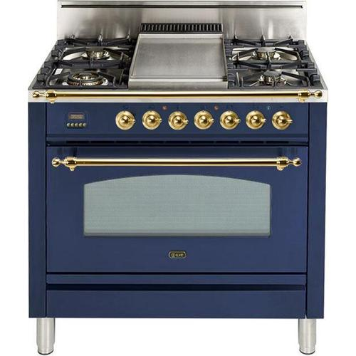 Nostalgie 36 Inch Gas Liquid Propane Freestanding Range in Blue with Brass Trim