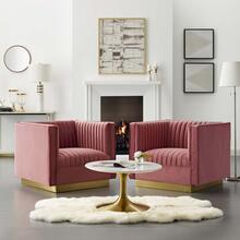 Sanguine Vertical Channel Tufted Upholstered Performance Velvet Armchair Set of 2 in Dusty Rose